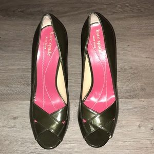 Kate Spade olive patent cross-front peep-toe pump
